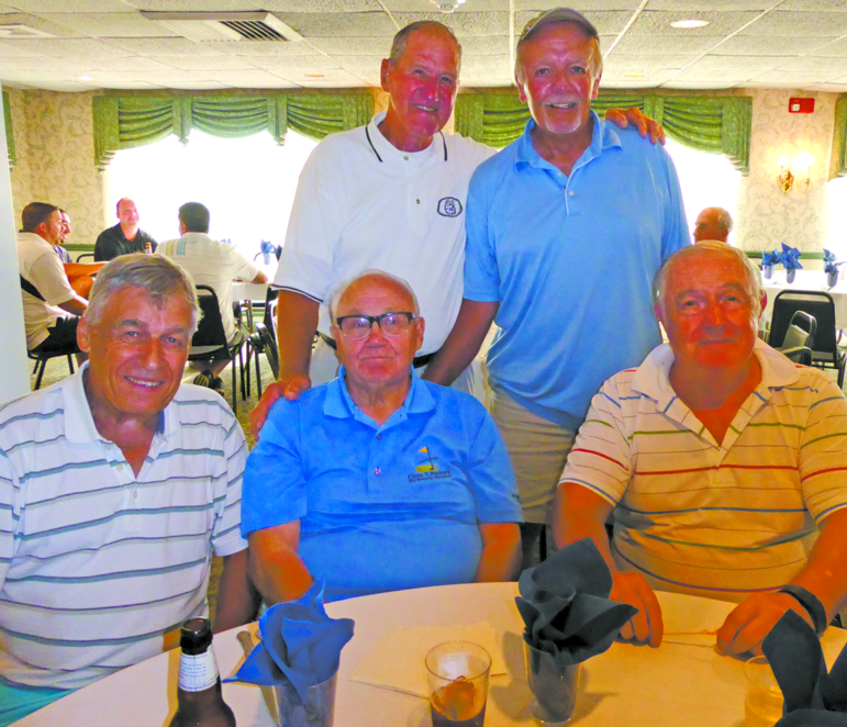 """Mr. C,"" retired principal of Suffield High School, is surrounded by Glenn's former teachers. Clockwise from the left: Joe Sinicrope, Paul Thomas, Ed Grous and Russ Baker."