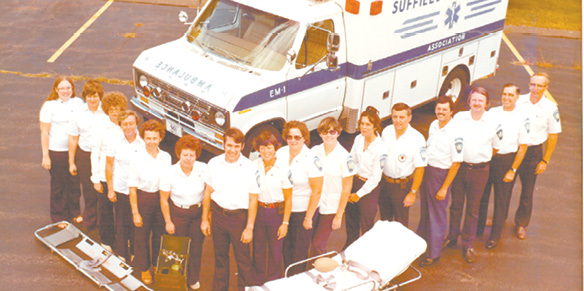 The early staff of the new Suffield Ambulance Association is pictured with their first ambulance. From the left: L. Lason, B. McCloud, B. Carney, C. Ryan, A. Harvey, L. Grano, 1976 First Ambulance Chief B. Phelps, B. Laemel, P. Christian, B. Straite, D. Smith (who became the second chief in 1981), D. Terry, T. Mavis, T. Straite, T. Mallon, J. Biggerstaff.
