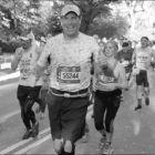 Suffield's Gerry La Plante is pictured with a smile near the finish line of the New York Marathon on November 6. His time? 5:00:00!