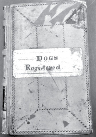 The Town vault contains a number of old volumes like this century-old dog register.