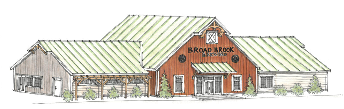 The new brewery on South Street coming to town this fall is shown in this architect's rendering, drawn before the planned silo was added. The left end will house the tap room with a terrace for watching aircraft operations at Bradley.