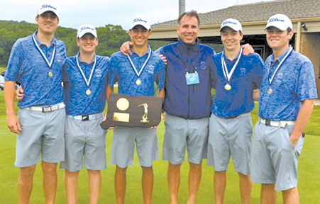 The golf team members who played and won in the State Championship matches are pictured with Coach McCullough. From the left: Zack DelVaglio, Brendan Looney, Thomas Durkin, Coach McCullough, Austin Rupp, Justin Coffey.