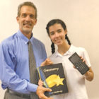 Suffield native Larry Tavino, Teacher iof the Year in Hilton Head Prep, was pictured in a school promotional shot with Ella Tomita, one of the eighth grade students.