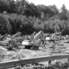 Big machines are shown at work in mid-September in the Lake Road sand pit. They are processing the remains of the trees removed from alongside the initial stretch of the road. This site preparation was being done for new owner Crestview by Moosehead Harvesting, whose local headquarters are on Austin Street.