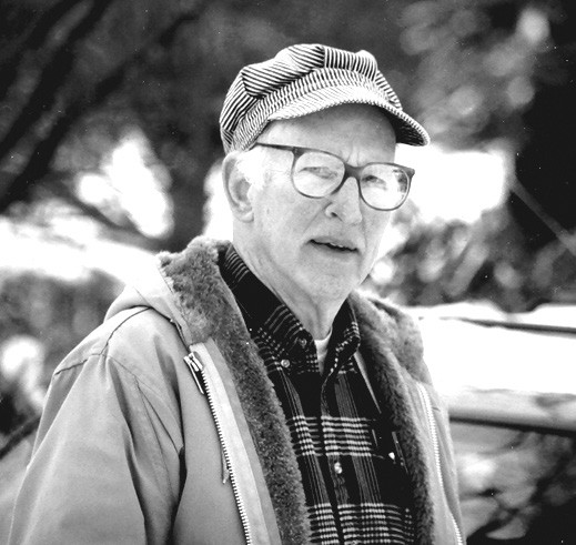 "This wintertime photo of Lester Smith was taken in 2003 for an Observer article entitled ""Lester Wears Many Hats"" by Jane Fuller."