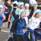 Unidentified youngsters start out on their final mile run in the HMF FitKids program. (HMF is the Hartford Marathon Foundation.)