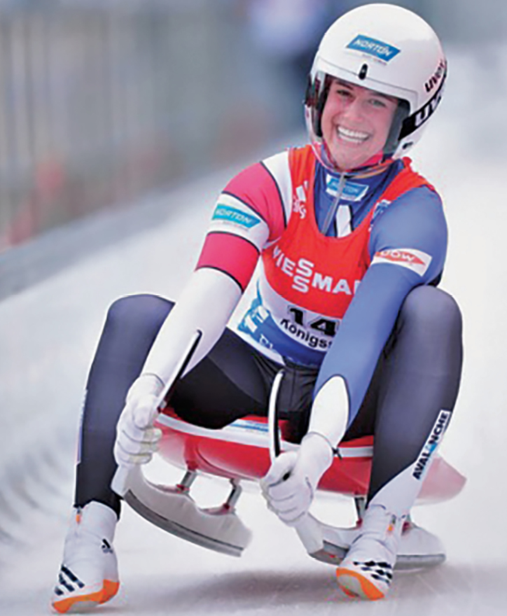Emily Sweeney grins happily as she finishes one of her runs during the 2015 World Cup competion in Koenigssee, Germany.