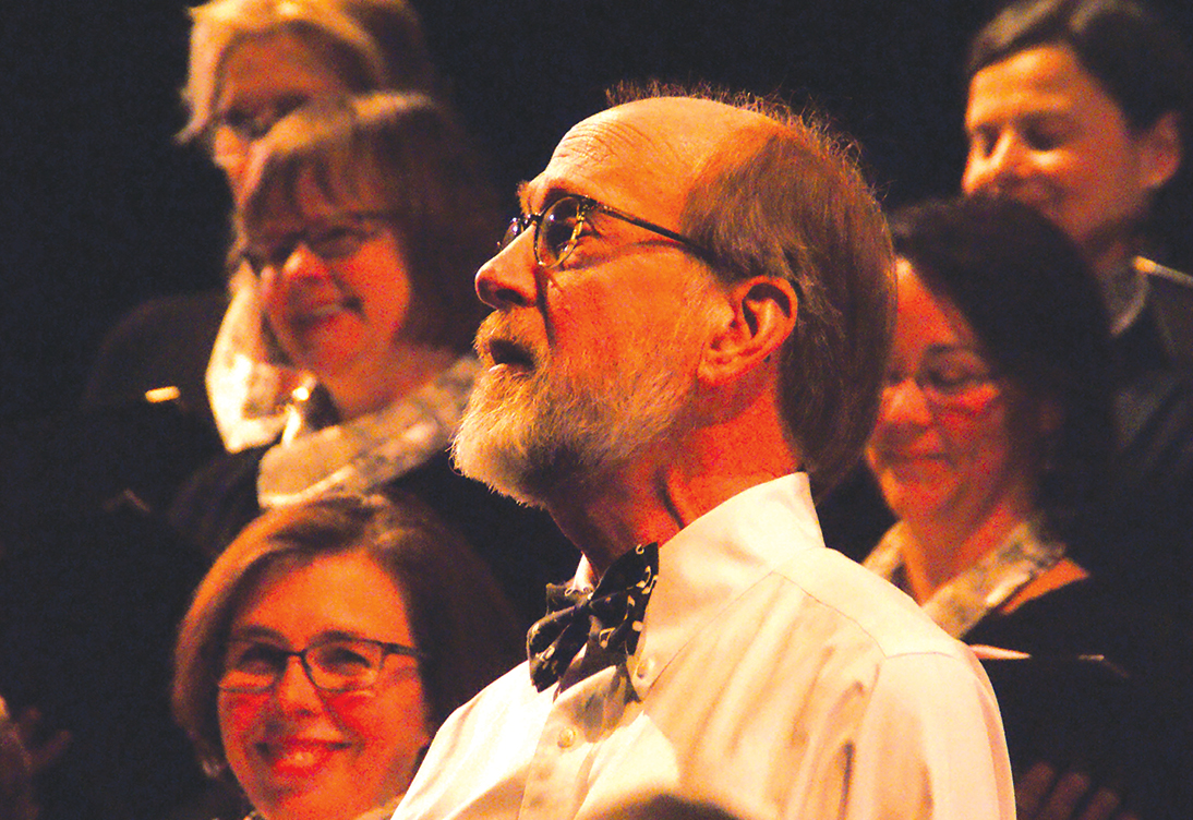 As a member of the Second Baptist Church Sanctuary Choir, Larry Peters sings a short, solo introduction to one of the choir's two pieces in the Suffield Sings! concert on February 11.