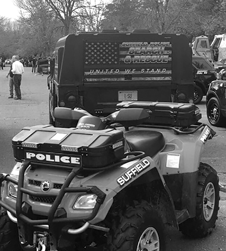 The Suffield Police's quad ATV, equipped for off-road search and rescue operations, was among the many special vehicles set out for public inspection during Nation Night Out, last August.