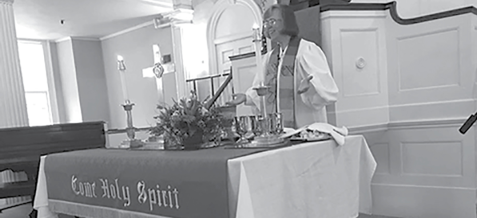 Rev. Lisa Eleck, the new pastor at West Suffield Congregational Church, is pictured during her recent ordination at the beautiful old Congregational Church in Rocky Hill.