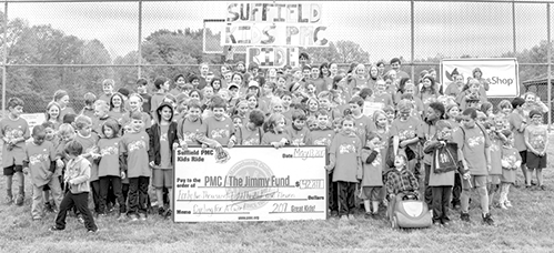 The 207 kids who rode in last year's PMC Kids Ride are pictured with the giant check reporting that the event had raised $42,811 for the Jimmy Fund.  Local Organizer Chris Nikolis hopes to raise $60,000 in the May 12 ride this year.