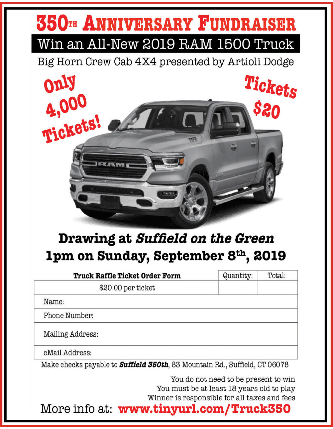 Truck Raffle Supports 350th | The Suffield Observer